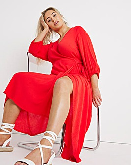 Coral Crinkle Wrap Maxi Dress