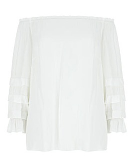 White Puff Sleeve Bardot Top