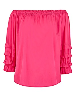 Pink Puff Sleeve Bardot Top