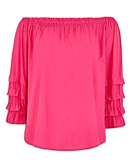 Pink Puff Sleeve Bardot Top