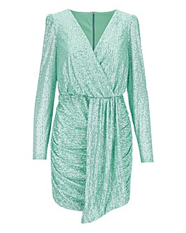 Mint Green Bodycon Sequin Wrap Dress