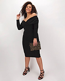 Black Ruched Bardot Bodycon Dress