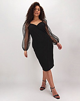 Black Organza Sleeve Bodycon Midi Dress