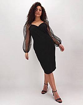 Black Organza Sleeve Bodycon Midi Dress