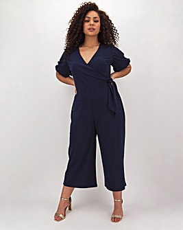 Navy Tie Side Culotte Crop Jumpsuit