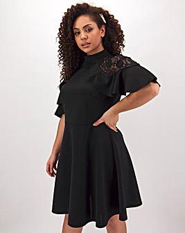 Black Lace Insert Prom Dress