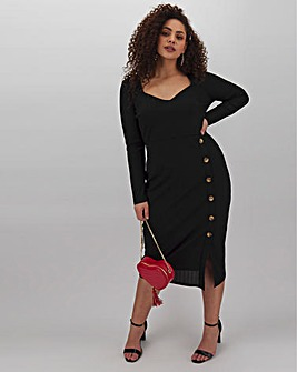 Black Ribbed Button Through Midi Dress