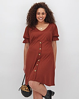 Rust Ribbed Button Through Skater