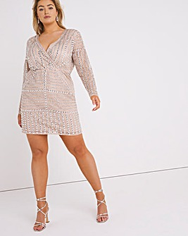 Mink Sequin Wrap Bodycon Dress