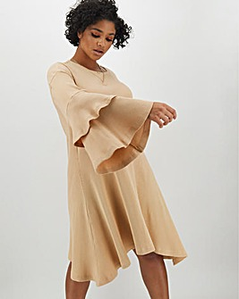 Oatmeal Tiered Sleeve Ribbed Swing Dress