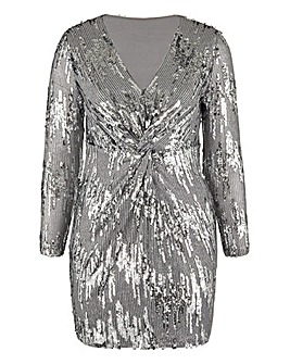 Silver Sequin Plunge Mini Dress