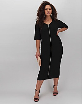 Black Zip Through Bodycon Dress