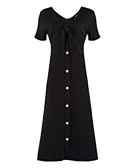 Black Button Through Midi Dress