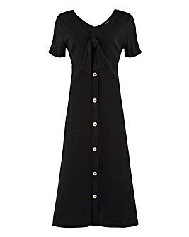 Black Button Through Midi Dress
