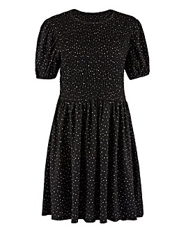 Black and White Spot Shirred Dress