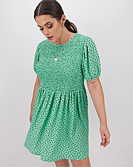 Peppermint Spot Waffle Shirred Dress