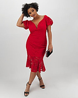 Red Lace Peplum Bodycon Dress