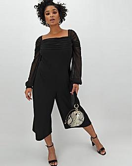 Black Mesh Bardot Culotte Jumpsuit