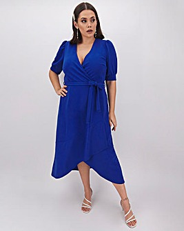 Cobalt Midi Wrap Dress