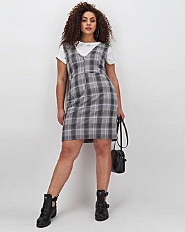 Grey Check Zip Pinafore Dress