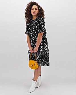 Mono Spot Ruffle Midi Dress