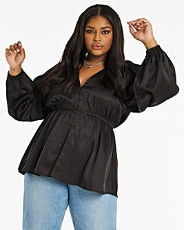 Black Balloon Sleeve Satin Plunge Blouse