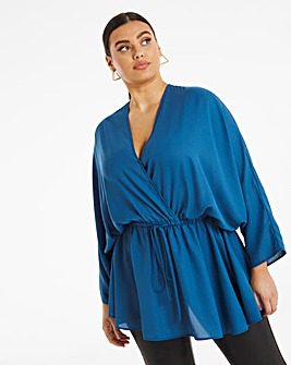 Blue Kimono Sleeve Blouse