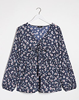 Floral Print Long Sleeve Tie Front Top