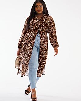Animal Longline Shirred Waist Kimono