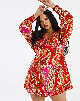 Paisley Exaggerated Sleeve Swing Dress
