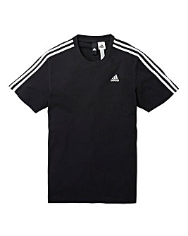 adidas Black Essentials 3 Stripe T-Shirt