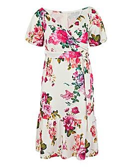 Floral Print Bardot Occasion Midi Dress