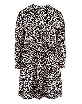 Animal Print Tiered Waffle Smock Dress