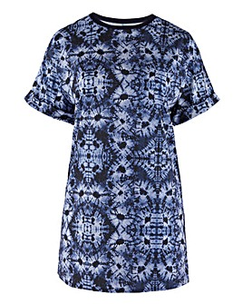 Blue Tie Dye Print T-Shirt Dress