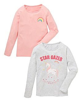 Girls Pack of Two Long Sleeve T-Shirts