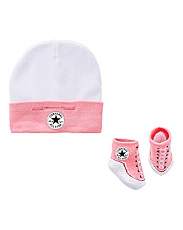 Converse Baby Girl Hat & Bootie Set