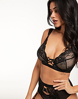 Figleaves Lace Up Mono-Wire Plunge Bra