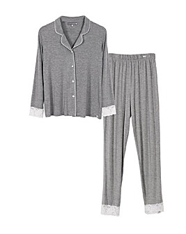 Pretty You London Elegant and Breathable Lace Modal Pyjama Set for Women