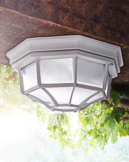 White Outdoor Hardwired Ceiling Light