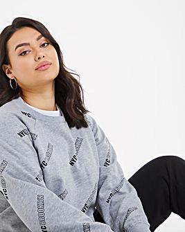Printed Raglan Crew Sweatshirt
