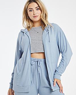 Blue Soft Touch Zip Through Hoodie
