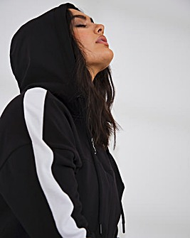 Side Stripe Hoodie with Half Zip