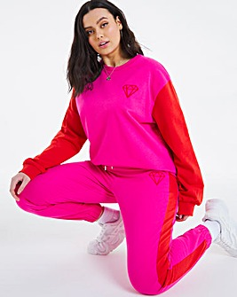 Red & Pink Colour Block Crew