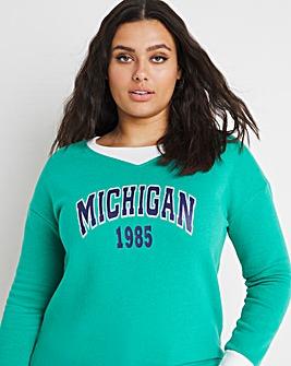 Michigan Varcity Print Sweatshirt