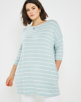 Sage/Ivory Soft Touch Side pocket Tunic