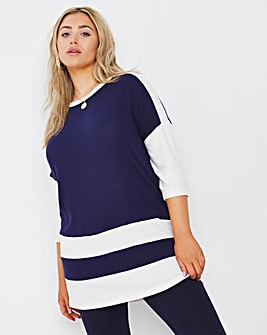 Navy/Ivory Soft Touch Side pocket Tunic
