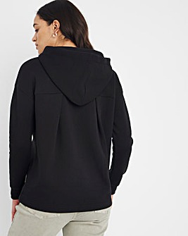 Black Pleat Back Hoodie