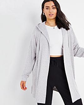 Grey Marl Soft Touch Longline Cardigan