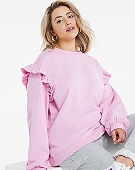 Pink Frill Detail Crew Sweatshirt