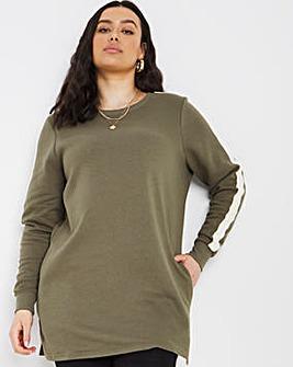 Khaki Side Stripe Sweat Tunic